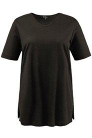 Strukturringel-Shirt, Rundhals, Seitenschlitze