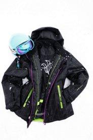Skijacke mit Karomuster, farbigen Details und Reflektoren.