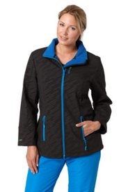 Softshell-Jacke mit Punktmuster und blauem Kuschelfleece