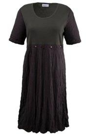 Kleid mit Ziersteinen und 3/4-Arm, Materialmix