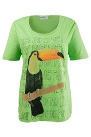 Shirt mit Tukan-Aufdruck und Glitzersteinen, Halbarm