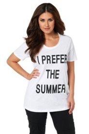 T-Shirt mit modischem Schriftzug, 100% Baumwolle