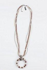Kette, 90 cm, Ringanhänger und mehrere Perlenreihen
