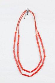 Kette, 100 cm, 2-reihig aus Holzstäbchen und Plättchen