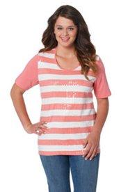 T-Shirt, gestreift mit transparenten Pailetten