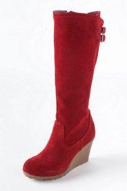 Stiefel aus Veloursleder mit Keilabsatz, Weite: H.