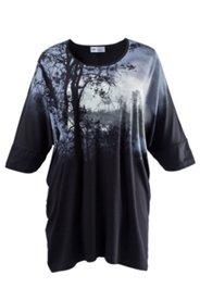 Kleid mit 3/4-Arm und digitalem Waldmotiv