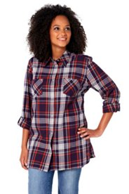 Flanellbluse in Karo-Optik