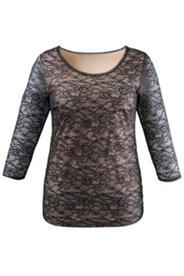 Bodyforming-Hemd mit 3/4-Arm, komplett aus Spitze