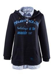 2-in-1-Sweatshirt, Kapuzenshirt mit Hemdkragen