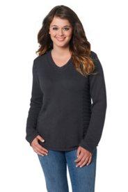 Pullover, Zopfmuster, V-Ausschnitt
