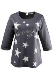 Shirt mit Sternen und Metallic-Schrift in Used-Optik