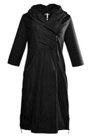 Kleid mit Schalkragen, Taft-Jersey-Mix