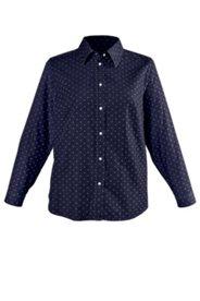 Hemdbluse mit Pünktchen-Muster, 100% Baumwolle