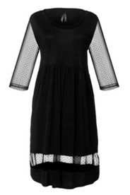 Kleid, 3/4-Ärmel aus transparentem Tupfenmesh