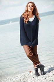 Pullover, Ajourmuster, V-Ausschnitt