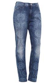 Boyfriend-Jeans mit Lasercut-Muster