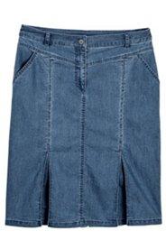 Jeansrock, gerade Form mit 2 Taschen und Kellerfalten