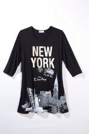 Oversized-Shirt New York, 3/4-Arm,  mit Glittereffekt