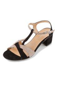 Sandalette aus zweifarbigem Leder, Weite H