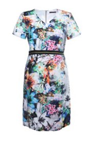 Kleid mit Taillenband und Blumenmuster