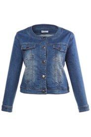 Jeansjacke mit Elasthan, Rundhalsausschnitt