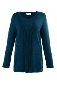 Pullover mit Zopf- und Ajourmuster