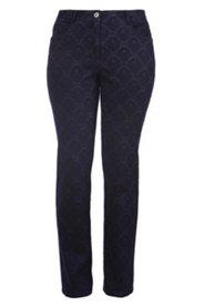 Jeans mit Barockmuster, gerades Bein