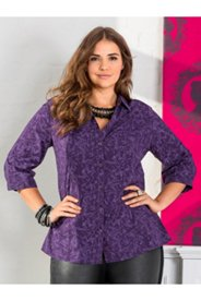 Bluse mit Kolibrimuster, 3/4-Arm, A-Linie
