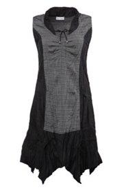 Patch-Kleid mit Tunnelzügen und Zipfelsaum