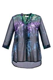 Bluse mit Baummotiv, leicht transparent