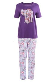 Pyjama mit Elefanten-Applikation
