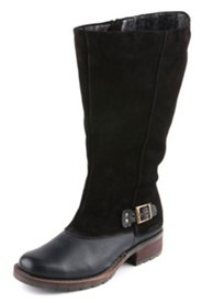 Stiefel mit Glatt- und Veloursleder, Weite H