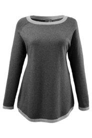 Pullover, Saum und Ärmelabschlüsse in Kontrastfarbe