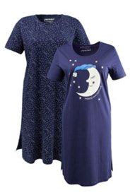 Bigshirts, 2er-Pack, Motiv Mond/Sterne