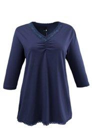 Pyjama-Oberteil mit Raffung und Spitze