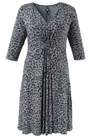 Kleid im Leopardenmuster, A-Linie, Stretch