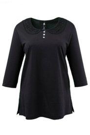 Pyjama-Oberteil mit Spitzenkragen und Perlmuttknöpfen