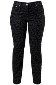 Bodyforming-Jeans mit Flock-Barockmuster