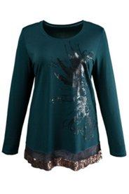 Shirt mit Lackdruck-Motiv und Paillettensaum