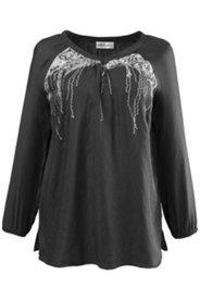 Bluse mit Paillettendruck, V-Ausschnitt