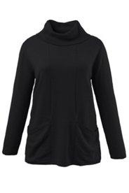 Pullover mit Ziernähten, Taschen und Rollkragen