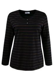 Shirt, Rundhalsausschnitt, Baumwolle, Langarm, Strassknöpfe