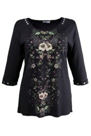Shirt mit Blütenmuster, körpernahe Form