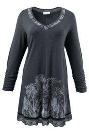Jerseykleid mit Waldmotiv und Spitzensaum, A-Linie