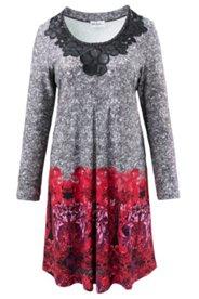 Kleid mit Blütenapplikation in Lederoptik