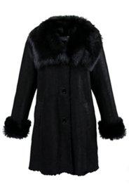 Mantel aus Leder mit glänzenden Schmuckknöpfen