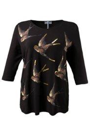 Shirt mit Vogelmotiv aus Pailletten, A-Linie