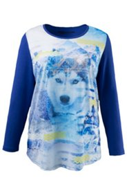 Shirt mit Husky-Fotomotiv, Stretch