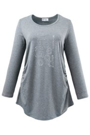 "Shirt mit Strass-Schriftzug ""FEEL GOOD"", Stretch"